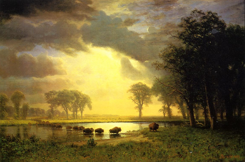 """Cascading Falls at Sunset"" - Albert Bierstadt Oil Painting"
