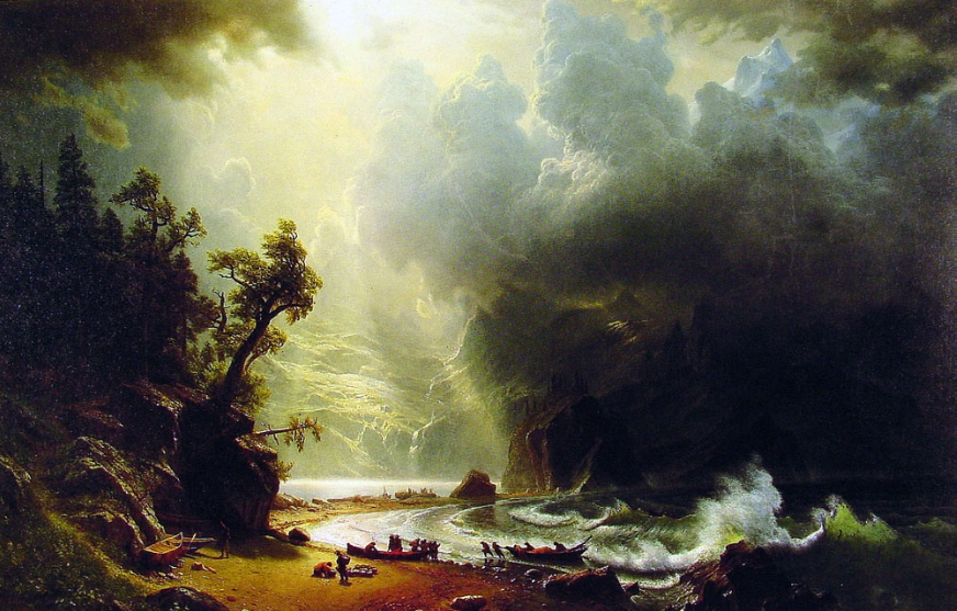 """Puget Sound on the Pacific CoastOil Painting Painted by Albert Bierstadt"