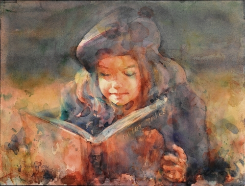 Watercolor Portrait Paiting Fairy Tale