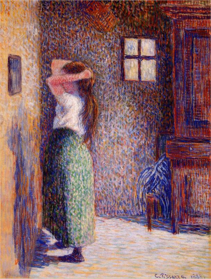 Young Peasant at Her Toilette Camille Pissarro